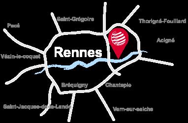 Carte simplifiée de Rennes avec l'emplacement des locaux d'Orinoko