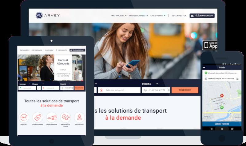 Vues d'écrans de l'application Arvey