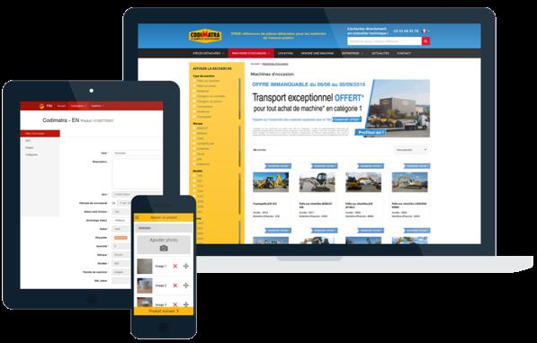 Vues d'écran sur mobile, pc et tablette de la page d'accueil du site Codimatra