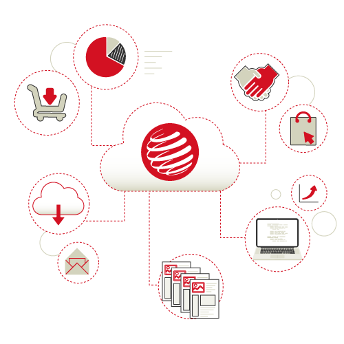 Logo Orinoko dans un nuage et des éléments qui l'entourent