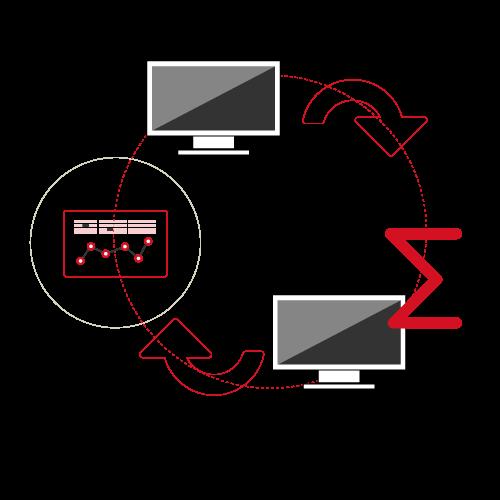 2 ordinateurs qui échangent des flux d'informations comme des chiffres ou des statistiques