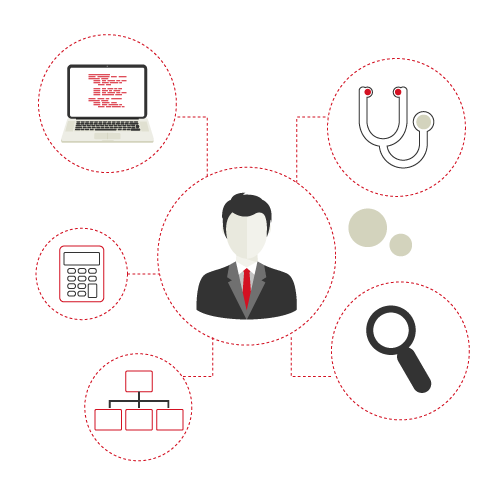 Homme relié à un stéthoscope, une loupe, un ordinateur, une calculatrice et un organigramme