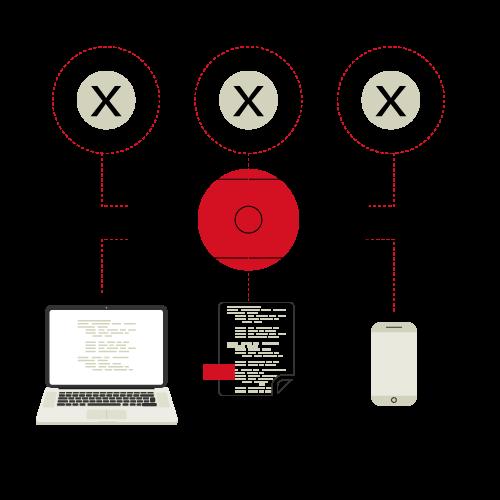 Un ordinateur, une feuille de papier et un smartphone reliés à une boîte noire