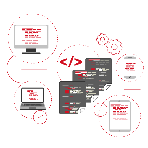 Plusieurs plateformes mobiles avec des lignes de code