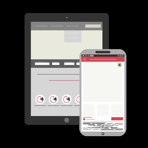 Tablette et smartphone avec des données affichées