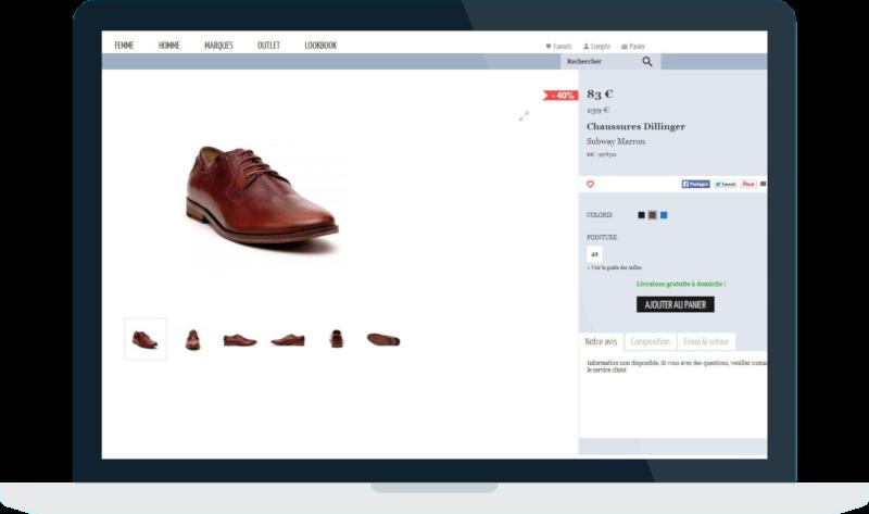 Capture écran d'une page avec des chaussures