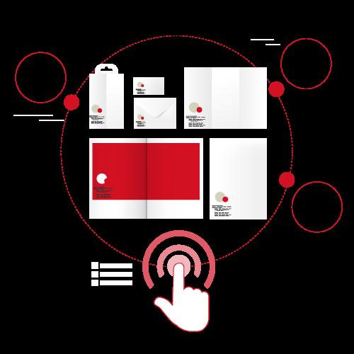 Doigt qui appuie sur un bouton et déploie différents formats